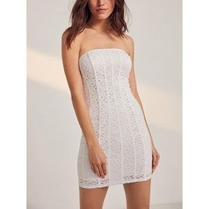 NWT UO short strapless white lace dress in Women